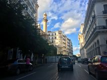 French colonial side of the city of Algiers, Bach Djarrah Algeria.Modern city has many old french type buildings. ALGIERS, ALGERIA - AGU 3, 2017: French royalty free stock photography