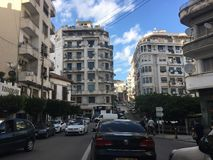 French colonial side of the city of Algiers, Bach Djarrah Algeria.Modern city has many old french type buildings. ALGIERS, ALGERIA - AGU 3, 2017: French royalty free stock photos