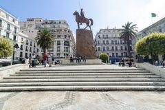 ALGIERS, ALGERIA - SEP 24, 2016: Monument Emir Abdelkader or Abdelkader El Djezairi was Algerian Sharif religious and military lea. ALGIERS, ALGERIA - FEB 6 royalty free stock images