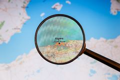 Algiers, Algeria. Political map. City visualization illustrative concept on display screen through magnifying glass stock photography