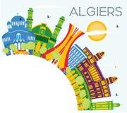 Algiers Algieria miasta linia horyzontu z kolorów budynkami, niebieskie niebo i ilustracji
