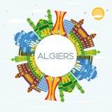 Algiers Algieria miasta linia horyzontu z kolorów budynkami, niebieskie niebo i ilustracja wektor