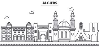 Algiers architecture line skyline illustration. Linear vector cityscape with famous landmarks, city sights, design icons. Editable strokes vector illustration