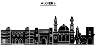 Algiers architektury miasta wektorowa linia horyzontu, podróż pejzaż miejski z punktami zwrotnymi, budynki, odosobneni widoki na  Obraz Stock