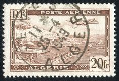 Algiers Harbor. ALGERIA CIRCA 1946: stamp printed by Algeria, shows Plane over Algiers Harbor, circa 1946 royalty free stock photography