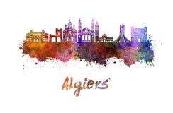 Algiers linia horyzontu w akwareli Zdjęcia Royalty Free