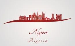 Algiers linia horyzontu w czerwieni Obraz Royalty Free