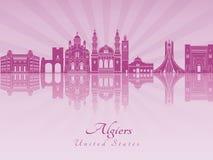 Algiers linia horyzontu w purpurowej opromienionej orchidei Zdjęcia Stock