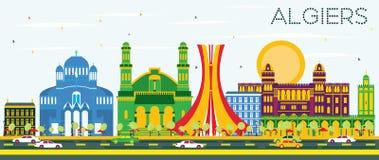 Algiers linia horyzontu z koloru niebieskim niebem i budynkami Obrazy Stock