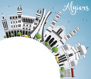Algiers linia horyzontu z Szarą budynków, niebieskiego nieba i kopii przestrzenią, Zdjęcia Stock