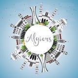 Algiers linia horyzontu z Szarą budynków, niebieskiego nieba i kopii przestrzenią, Fotografia Royalty Free
