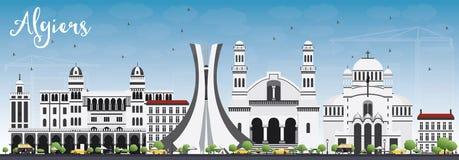 Algiers linia horyzontu z Szarymi budynkami i niebieskim niebem Zdjęcie Royalty Free