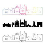 Algiers linii horyzontu liniowy styl z tęczą Zdjęcie Royalty Free