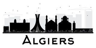 Algiers miasta linii horyzontu czarny i biały sylwetka Obrazy Stock