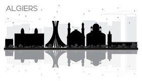Algiers miasta linii horyzontu czarny i biały sylwetka z odbiciami Obrazy Royalty Free