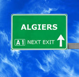 ALGIERS road sign against clear blue sky Stock Image