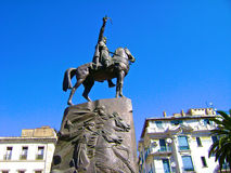 Algiers. The statue of Emir Abdelkader in Algiers the capital city of Algeria stock photo