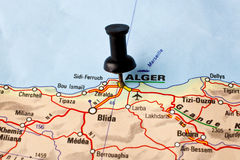 Algiers. Straight Pin in a Map royalty free stock photos
