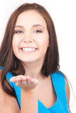 Algo en la palma Imagen de archivo