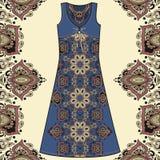Algodão da tela do vestido do verão das mulheres do esboço, seda, jérsei com teste padrão geométrico floral tirado de paisley mão Imagem de Stock Royalty Free