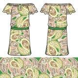 Algodão da tela do vestido do verão das mulheres do esboço, seda, jérsei com teste padrão geométrico floral tirado de paisley mão Fotografia de Stock