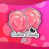Algodão doce Logo Emblem para seus produtos, ilustração do vetor de feito a mão Símbolo de uma nuvem do açúcar Imagem de Stock
