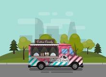 Algodão doce, um quiosque na ilustração das rodas, do retalho, dos doces e dos confeitos, ilustrada e a lisa do estilo do vetor c Imagens de Stock