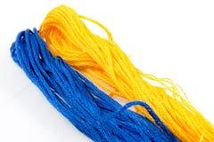 Algodón azul y amarillo imagen de archivo