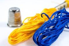 Algodón azul y amarillo fotografía de archivo