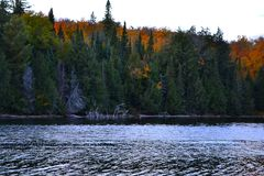 Algonquin Provincial Park, Ontario, Canada. Beautiful fall landscape with lake and mountains. N stock photo