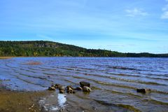 Algonquin Provincial Park, Ontario, Canada. Beautiful fall landscape with lake and mountains royalty free stock photos