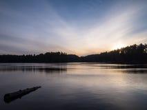 Algonquin prowincjonału parka miauczenia wieczór Jeziorny zmierzch zdjęcia royalty free