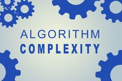 Algorithm Complexity concept. ALGORITHM COMPLEXITY sign concept illustration with blue gear wheel figures on pale blue background stock illustration