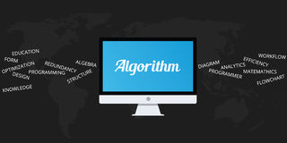 Algorithm. With computer desktop and things that related to royalty free illustration