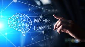 Algorithmes d'étude profonds de machine et intelligence artificielle d'AI Internet et concept de technologie sur l'écran virtuel image libre de droits