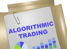 Algorithmic Trading concept. 3D illustration of `ALGORITHMIC TRADING` title on business document royalty free illustration