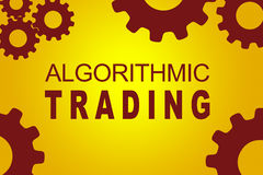 Algorithmic Trading concept. ALGORITHMIC TRADING sign concept illustration with red gear wheel figures on yellow background stock illustration