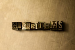 ALGORITHMS - close-up of grungy vintage typeset word on metal backdrop Stock Photography