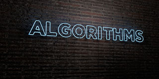 ALGORITHMS -Realistic Neon Sign on Brick Wall background - 3D rendered royalty free stock image Royalty Free Stock Images