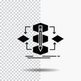 Algorithmus, Entwurf, Methode, Modell, Prozessglyph-Ikone auf transparentem Hintergrund Schwarze Ikone stock abbildung