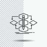 Algorithmus, Entwurf, Methode, Modell, Prozesslinie Ikone auf transparentem Hintergrund Schwarze Ikonenvektorillustration vektor abbildung
