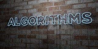 ALGORITMOS - Señal de neón que brilla intensamente en la pared de la cantería - 3D rindió el ejemplo común libre de los derechos libre illustration