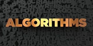 Algoritmos - texto del oro en fondo negro - imagen común libre rendida 3D de los derechos stock de ilustración