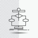Algorytm, mapa, dane, diagram, sp?ywowej linii ikona na Przejrzystym tle Czarna ikona wektoru ilustracja royalty ilustracja