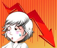 Alguém falhou no investimento e na seta vermelha ilustração royalty free