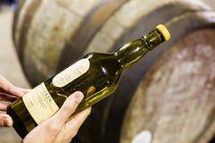 Alguém guarda uma garrafa de 16 anos wh envelhecido do malte de Lagavulin de único Imagem de Stock Royalty Free