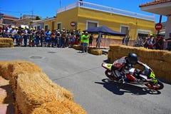 Algueña Motorcycle Road Racing. A Moto GP bike cornering during the Algueña motorcycle road race in Spain Stock Photos