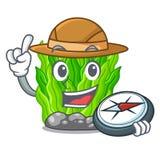 Algue verte miniature d'explorateur au-dessus de table de mascotte illustration libre de droits
