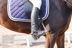 Alguien en botas de montar a caballo negras se sienta en un caballo oscuro outdoors Fotos de archivo