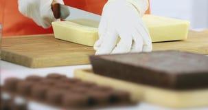 Alguien que corta la barra de chocolate en peque?o pedazo